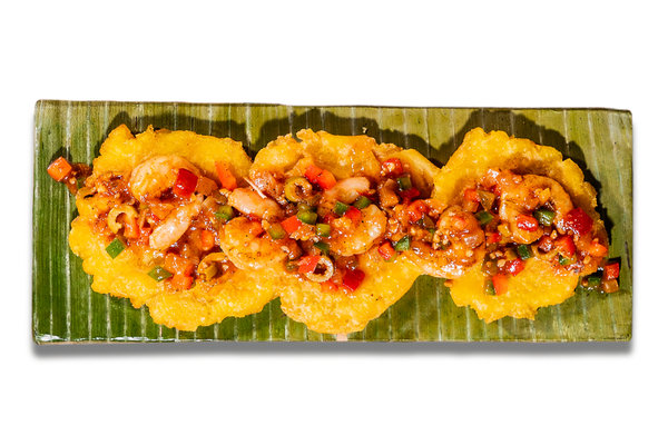 Topped Tostones with Shrimp Creole